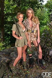 Busty Fornication - Lesbian Soldiers Going Wild in the Wild