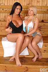 Sizzling, Sultry Duo: Busty Babes Fuck at the Spa